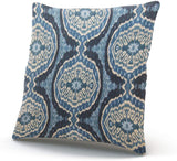 WULIHUA Pillow Covers Navy Blue Tribal Ikat Sofa Modern Pillow Case Decorative Throw Pillow Cases Double Sides Printed Square 18x18 Inches