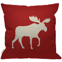 HGOD DESIGNS Moose Throw Pillow Cover,Abstract Animal Beast Antler Horned Reindeer Moose Burlap Pillow Cases Decorative for Women Girls Couch Sofa Bedroom Living Room 18x18 Inch Orange Red