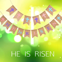 2 Sets Easter Burlap Banner HE is Risen Hanging Garland Printed Easter Bunting for Easter Day Decorations
