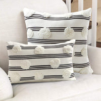 Tiffasea Tufted Pompoms Throw Pillow Cover 18x18, Boho Farmhouse Black and White Pillowcases, Cute Striped Cushion Cover Decorative Square Pillow Sham for Bed Couch Sofa Bedroom Living Room