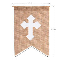 Blessed Banner Baptism Decorations, Vintage Rustic Burlap Bunting Communion Party Banner,Baby Shower Party Supplies With White Cross Décor Photo Props (White Cross)