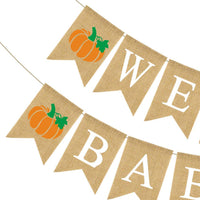 Rainlemon Jute Burlap Welcome Baby Banner with Pumpkin Fall Baby Shower Party Garland Decoration