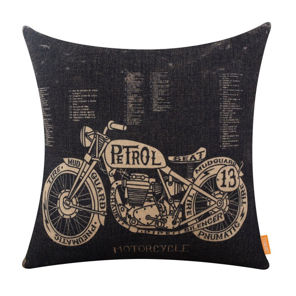 LINKWELL 18x18 inches Black Motorcycle Design Draft Man Cave Home Sofa Burlap Throw Cushion Cover Pillowcase CC1208