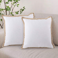 CDWERD 2pcs Farmhouse Pillow Covers 18 X 18 inches Burlap Decorative Throw Pillow Cases for 16x16 inches Pillows Inserts
