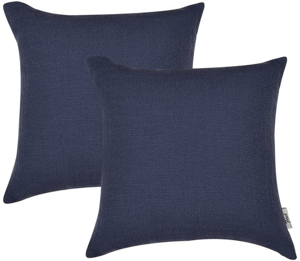 "Firet Linen Throw Pillow Covers, Square Solid Color 2 Pack Pillow Cases 18"" x 18"" Cushion Cover Navy"