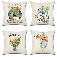 XYQY Spring Throw Pillow Covers Case Square Cotton Linen Cushion Case Flower Market Farmhouse Decorations for Home Couch Sofa Bedroom Chair Auto Seat 18 x 18 inch Set of 4
