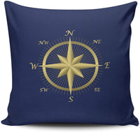 XIAFA Blue Nautical Wedding Gold Compass Home Decoration Pillowcase 18X18 inch Square Stylish Design Throw Pillow Case Cushion Cover Double Sided Printed (Set of 1)