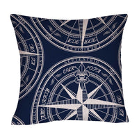 DECOPOW Navy Blue Compass Pillow Cotton Linen Decorative Throw Pillow Case Square 18 Inches