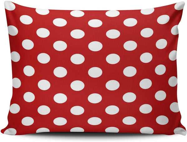 WULIHUA Decorative Throw Pillow Covers Red and White Polka Dot Fine Zipper Pillowcases Throw Pillow Cushion Covers for Sofa One Side Printed Boudoir 12x18 Inches