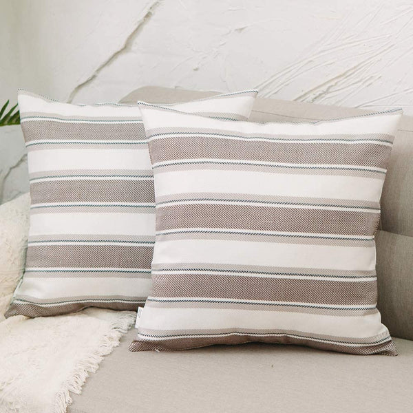 "NATUS WEAVER Set of 2,Multi Stripe Pillow Case Soft Faux Linen Square Decorative Throw Cushion Cover Pillowcase with Hidden Zipper for Sofa Bed Couch Living Room 18"" x 18"""