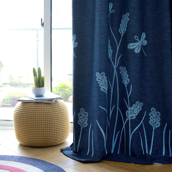 Melodieux Wheat Embroidery Faux Linen Blackout Curtains for Living Room Bedroom Noise-Free Grommet Window Drape, Navy/Blue, 52 by 84 Inch (1 Panel)