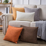 Phantoscope Throw Pillow Cover Textured Faux Linen Series Decorative Cushion Covers for Home Decor Sofa Pack of 2, Light Grey 12 x 20 inches 30 x 50 cm