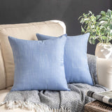Phantoscope Throw Pillow Cover Soft Textured Lined Burlap Cushion Covers Pillowcase for Home Decor Car Sofa Couch Pack of 2 Sky Blue 18 x 18 inches 45 x 45 cm