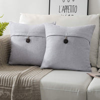 Phantoscope Pack of 2 Farmhouse Throw Pillow Covers Button Vintage Linen Decorative Pillow Cases for Couch Bed and Chair Grey 22 x 22 inches 55 x 55 cm