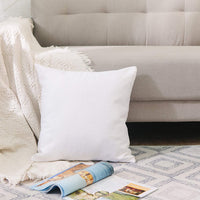 "NATUS WEAVER 2 Pieces White Pillow Case Soft Faux Linen Square Decorative Throw Cushion Cover Pillowcase with Smooth Hidden Zipper for Sofa 18"" x 18"""