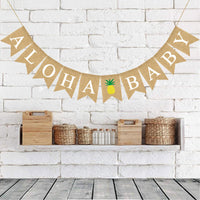 Rainlemon Jute Burlap Aloha Baby Banner with Pineapple Summer Baby Shower Nursery Decoration