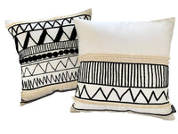 Eight Owls Boho Pillow Covers - 100% Cotton Modern Black and White Decorative Throws with Tassel Fringe - Set of 2