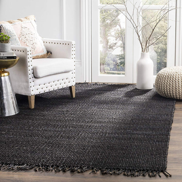 "Safavieh Natural Fiber Collection NF368D Hand-woven Jute Area Rug, 2' 6"" x 4', Black"