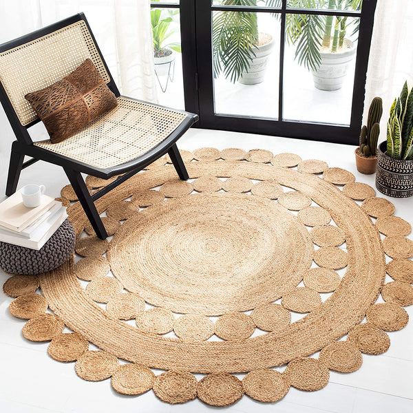 Safavieh Natural Fiber Collection NFB308A Jute Area Rug, 3' Round, Natural