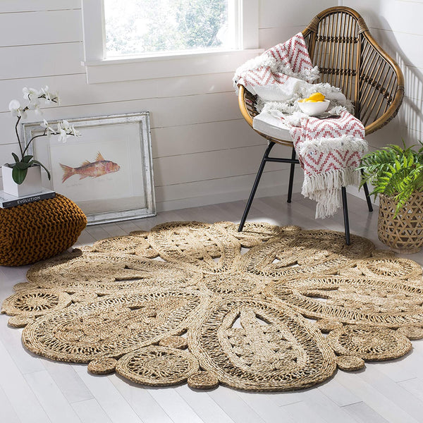 Safavieh Natural Fiber Collection NF360A Hand-woven Jute Area Rug, 3' x 3' Round