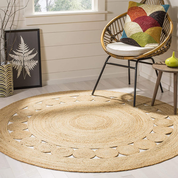 Safavieh Natural Fiber Collection NF364A Hand-Woven Jute Area Rug, 3' x 3' Round