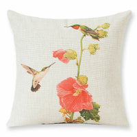 Flowers Birds Pattern Cotton Linen Pillow Case Waist Cushion Cover Home Decor