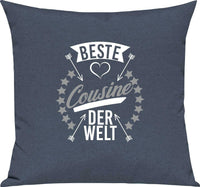 Sofa Cushions, best COUSIN IN THE WORLD, Cuddly Pillow Couch Decorative,- show original title