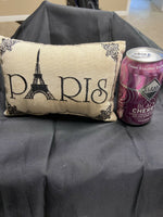 """Paris"" - Embroidered Accent Pillow - (Small/Cute: 8 1/2"" x 5 1/2"") Eiffel Tower"
