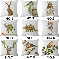 Home Decor Leaves animals Linen Cotton Throw Pillow Case Cushion Cover Home