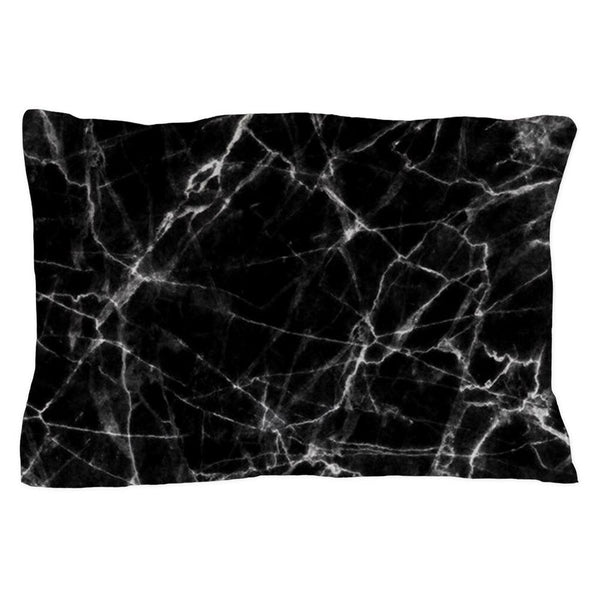 CafePress Black Marble Stone Gray Accents Pillow Case (1672146655)