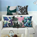 "18"" Cotton Linen Car Decor Waist Cushion Pillow Case Cover Watercolour Leaf Home"