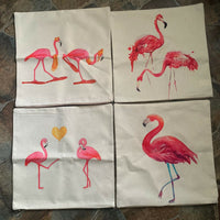 Pink Flamingo Natural Burlap Look Couch Cushion Cover Throw Accent Pillow Case