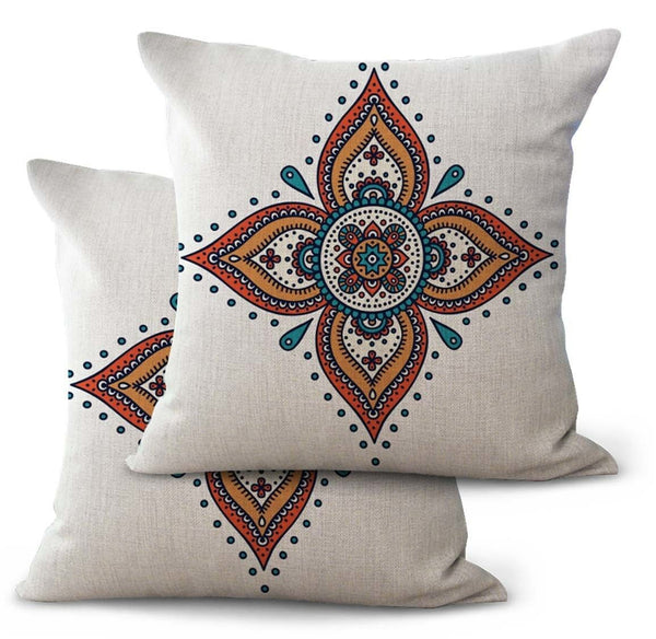 US SELLER, 2PCS pillowcase on sofa ethic mandala boho-chic cushion cover