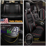 Car Front 2 Seat Cushion&3in1 Rear Row Seat Cover& Headrests& Waist Pillows Set