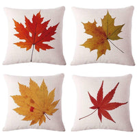 4PCS Maple Leaves Throw Pillow Covers Cotton Linen Cushion Square Decorative