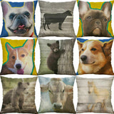 "Dog Printing Pillow Case Cotton Linen car Cushion Cover Sofa Home Decor 18""*18"""