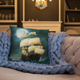 Old Ship Throw Accent Pillow Complete w/ Insert & Case printed both sides.