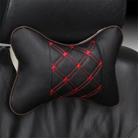 Breathable Pair Single Side PU Leather+Cloth Embroidery Car SUV Neck Rest Pillow