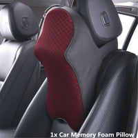 Autos Seat Headrest Pad Memory Foam Pillow Travel Head Neck Rest Support Cushion