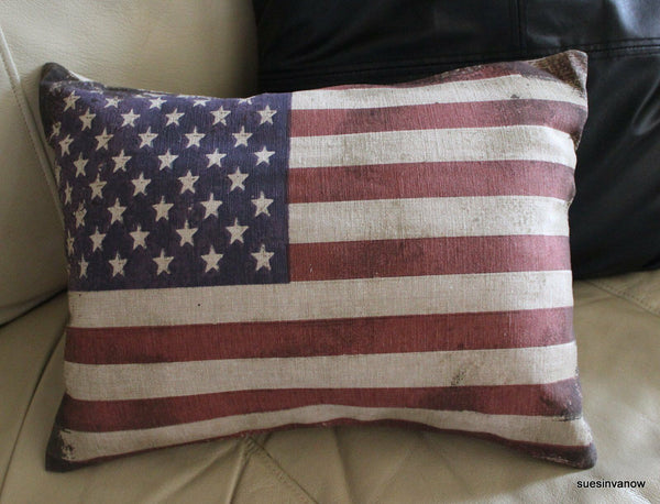 Distressed American Flag Accent Pillow Case Designer Decorative Country Home