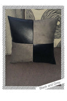 Accent Decorative leather pillow black & grey suede case cushion cover faux