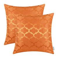2Pcs Orange Cushion Cover Pillows Case Accent Geometric Home Sofa Decor 20x20 in