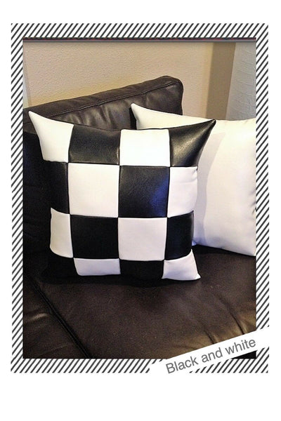Accent Decorative leather pillow squares black white case throw cushion cover