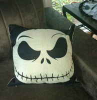 "NEW Jack Skellington LINEN Pillow case - Nightmare before Christmas - 18"" accent"