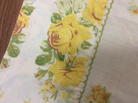 VINTAGE PILLOW CASE FLORAL 1 STANDARD ROSES YELLOW GREEN EMBROIDERED ACCENT