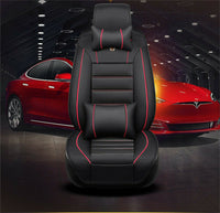 US Stock Luxury PU Leather 5D Surround Breathable Car Seat Cover Cushion+Pillows