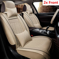Luxury PU Leather Car Seat Covers All Season Front Seat Cover Cushion w/ Pillows