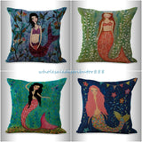 4pcs cushion covers mermaid ocean nautical pillowcases for couch pillows