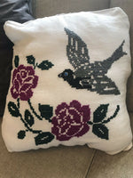 EMBROIDERED Linen Accent Pillowcase Pillow CASE VTG Floral, Bird,Children's Room