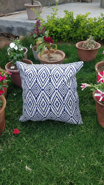 Living Room Block Printed 16x16 Bed Room Boho Accent Cushion Cover Pillow Cases